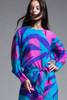 Flora Kung belted silk dress flowy colorful long sleeves vintage 80s MEDIUM M