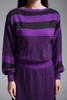 sweater dress purple black striped knit long puff sleeves vintage 80s Jordache MEDIUM M
