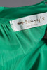 evening gown prom dress full skirt with pockets deep plunging v neck green satin vintage 60s SMALL S