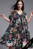 plus size boho gauze cotton muumuu flowy tent dress black floral vintage 70s ONE SIZE 2X 3X