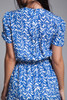 secretary dress blue white short doll sleeves vintage 80s SMALL MEDIUM S M