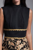 sleeveless maxi dress black flocked gold metallic sparkly floral gold coin rikrak vintage 70s MEDIUM M