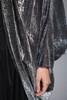plus size vintage 70s jumpsuit cocoon duster jacket coat set black silver metallic disco 1X 2X