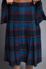 pleated skirt suit plaid wool midi jacket matching set slim fit blue red SMALL S