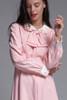 pink linen bow dress Peter Pan collar petal applique long sleeves vintage 60s LARGE L