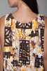 plus size 1X 2X vintage 60s  cotton drawstring shift dress Hawaiian floral print yellow brown