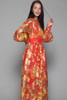 metallic maxi dress red gold lurex floral sheer balloon sleeves high neck vintage 70s SMALL S