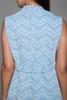 MOD sleeveless mini dress blue white chevron print belted vintage 60s MEDIUM M