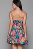 strapless sweetheart mini party dress floral painted tulip cotton vintage 80s SMALL S