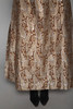 evening gown maxi dress bubble sleeves brown gold metallic paisley brocade vintage 70s LARGE L