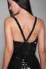 sequin jumpsuit black sequins v strap NYE vintage 80s SMALL S