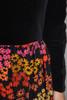 maxi dress cotton velvet black red floral long sleeves vintage 70s MEDIUM M