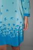 bird print silk dress belted long sleeves blue Amanda Uprichard SMALL S