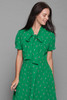 ascot bow mini shirtwaist dress doll sleeves green printed retro SMALL MEDIUM S M
