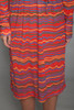 belted faux wrap dress red wavy stripes jersey knit deep plunging v vintage 70s LARGE L
