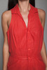red romper jumpsuit cotton sleeveless fitted vintage 80s MEDIUM M
