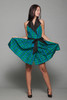 plaid taffeta party wrap mini dress halter collar blue green black vintage 80s XS Extra Small