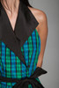 plaid taffeta party wrap mini dress halter collar blue green black vintage 80s XS Extra Small