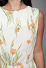 floral cotton pleated day dress cream orange sleeveless vintage 60s SMALL S