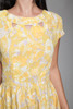 1950s yellow floral pleated day dress keyhole sleeveless vintage 50s LARGE L
