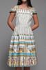 1950s novelty print cotton pleated dress Egyptian Pharaoh Nile ship boat vintage SMALL S