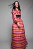 silk hanbok maxi skirt bolero set dress pink stripes vintage 70s SMALL S