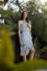 ruffled floral party dress pale blue one shoulder (choose size)
