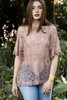 crochet lace cotton boho top coverup pale pink ONE SIZE