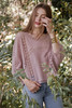 boho eyelet cotton batwing embroidery top mauve pink ONE SIZE