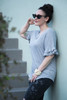 gray ruffled sleeve top key hole crinkled knit (choose size)