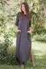 gray maxi knit dress with rounded hem side slits (S-3X) plus size