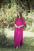 magenta maxi knit dress with rounded hem side slits (S-3X) plus size