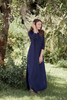 navy blue maxi knit dress with rounded hem side slits (S-3X) plus size