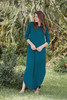 teal blue maxi knit dress with rounded hem side slits (S-3X) plus size