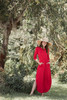 red maxi knit dress with rounded hem side slits (S-3X) plus size