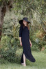 black maxi knit dress with rounded hem side slits (S-3X) plus size