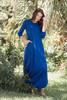 blue maxi knit dress with rounded hem side slits (S-3X) plus size