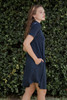 knit mini dress navy blue mock turtle neck short sleeves (S-XL)
