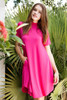 knit mini dress magenta mock turtle neck short sleeves (S-XL)