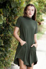 knit mini dress forest green mock turtle neck short sleeves (S-XL)