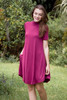 knit mini dress red wine mock turtle neck short sleeves (S-XL)