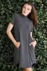 knit mini dress heather gray mock turtle neck short sleeves (S-XL)