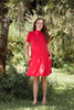 knit mini dress ruby red mock turtle neck short sleeves (S-XL)