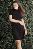 knit mini dress black mock turtle neck short sleeves (S-XL)
