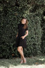 knit mini dress black mock turtle neck short sleeves (S-XL)