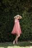 knit mini dress rose pink mock turtle neck short sleeves (S-XL)