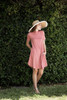knit mini dress rose pink mock turtle neck short sleeves (S-XL)