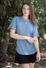 blue ruffled sleeve top key hole crinkled knit (S-XL)