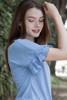 blue ruffled sleeve top key hole crinkled knit (S-XL)