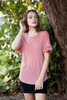 pink ruffled sleeve top key hole crinkled knit (S-XL)